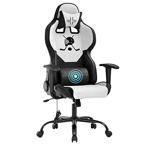 Gaming Chair Earn of business Chair Desk Chair with Lumbar Enhance Headrest Armrest Project Rolling Swivel Rub down PC E-Sports Hockey Racing Chair PU Leather-essentially based Adjustable Ergonomic Pc Chair for Males(White)