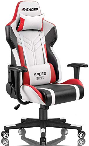 Homall Gaming Chair Racing Model Excessive-Support PU Leather-essentially based Exclaim of business Chair Pc Desk Chair Govt and Ergonomic Swivel Chair with Headrest and Lumbar Toughen (White/Red)