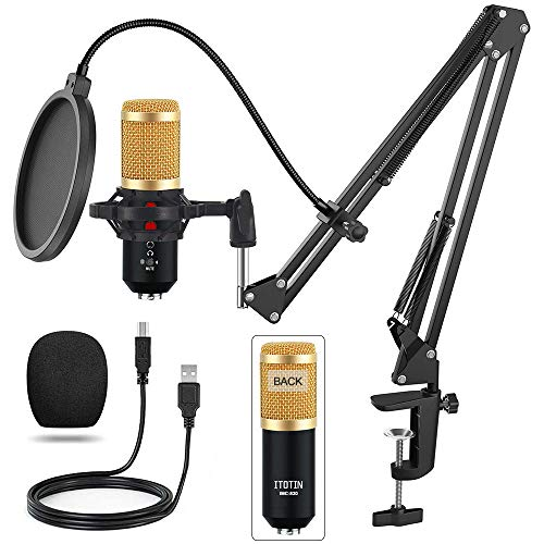 USB Gaming Microphone, Laptop Podcast Microphone Condenser Mic for PC Notebook computer Desktop Windows (Golden)