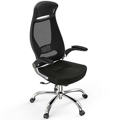 Excessive-Lend a hand Computer Mesh Self-discipline of industrial Chair, HAPFIY Swivel Ergonomic Project Chair with Adjustable Armrest, Desk Chair Dwelling Self-discipline of industrial Chair, Govt Chair with Gentle Casters,Shadowy