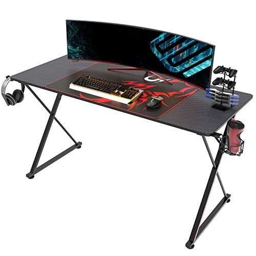 EUREKA ERGONOMIC Gaming Desk 55″ Residence Enviornment of work Gaming Computer Desk, X Fashioned Huge Gamer Workstation PC Table with Controller Stand Cup Holder Headphone Hook Free Mousepad,