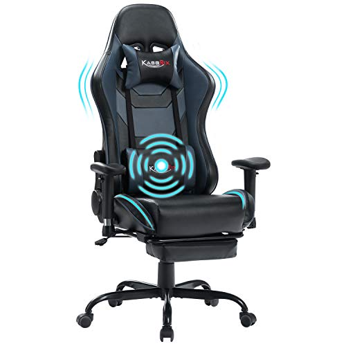 KASORIX Pc Chair High Support Gaming Chairs of Expert Racing Sort Fully chuffed Gamer Chair with Footrest and Rub down Backrest and Lumbar Pillows (Blue-12)