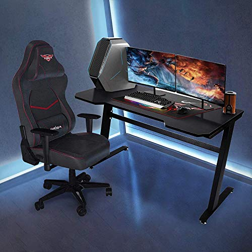 Gaming Desk 47.2″ Pc Gaming Desk Gamer Racing Type Administrative heart Desk PC Workstation Game Station with Cable Management Holes