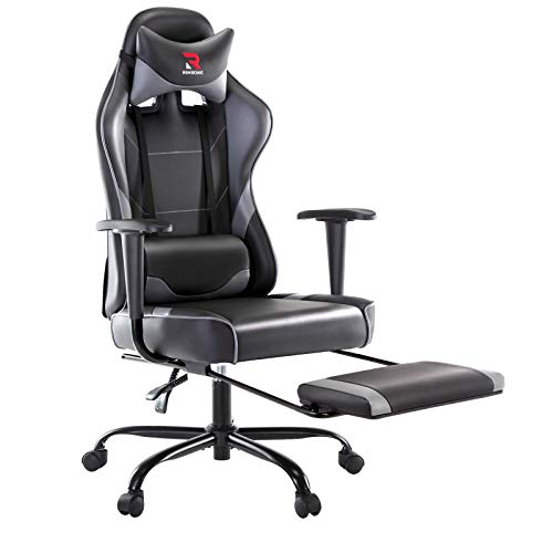 Rimiking Ergonomic Gaming Chair with Footrest – Adjustable Swivel Leather-basically based Racing Pc Desk Chair with Lumbar Reinforce and Headrest for Grownup and Minute one (Gray)