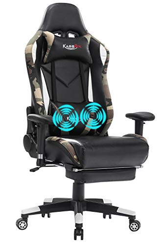 KASORIX Computer Chair Excessive Aid Gaming Chairs of Legit Racing Vogue Pleased Gamer Chair with Footrest and Rub down Backrest and Lumbar Pillows… (Masks-08)