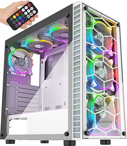 MUSETEX ATX Mid-Tower Computer Gaming Case with 6 PCS × 120mm LED ARGB Fans USB 3.0 Port Tempered Glass PC Chassis(G05MS6-BB)