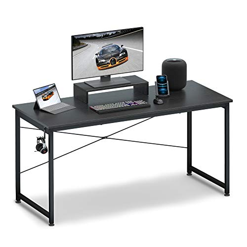 Computer Desk 55″ with Movable Display screen Shelf Riser, OTK Sturdy Home Jam of work Desk, Writing Desk, Gaming Desk with Headphone Hook, Computer Work Dwelling,