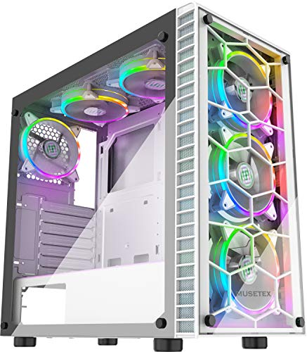 MUSETEX ATX Mid-Tower Pc Gaming Case with 6 PCS × 120mm LED ARGB Fans USB 3.0 Port Tempered Glass PC Chassis(G05S6-BB)