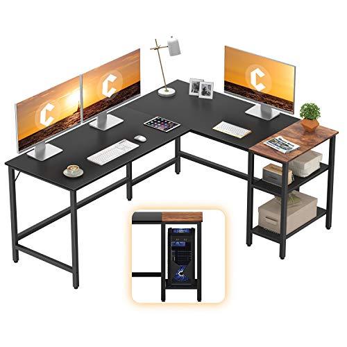 CubiCubi L-Fashioned Computer Desk, Industrial Exclaim of job Corner Desk Writing Peep Table with Storage Shelves, Space-Saving,Sad
