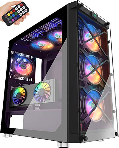 MUSETEX Phantom Sunless ATX Mid Tower Desktop Computer Gaming Case USB 3.0 Ports Tempered Glass Windows with 120mm LED RGB Followers Pre-Set aside in (BX6-MN6)