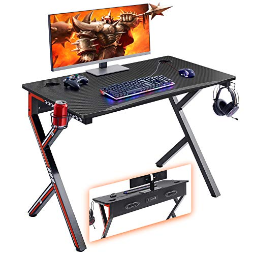 Mr IRONSTONE Gaming Desk 45.2″ W x 23.6″ D Home Office Desk, Gaming Workstation with Vitality Strip of 3-Outlet & 2 USB Ports, Cup Holder, Headphone Hook,