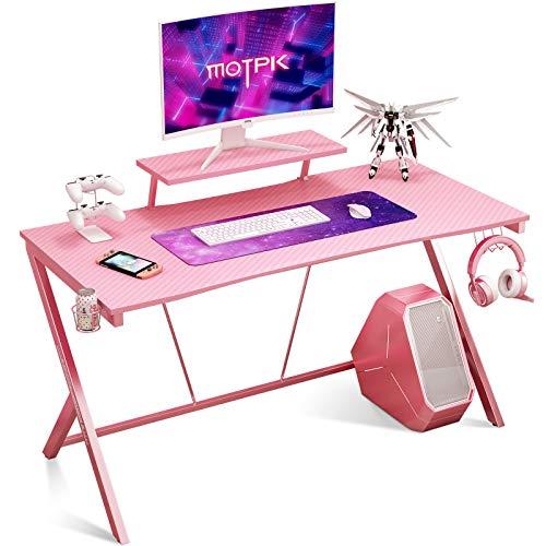 Gaming Desk 60″ with Video display Shelf Gaming Desk Dwelling Computer Desk with Cup Holder and Headphone Hook Gamer Workstation Sport Desk, Crimson