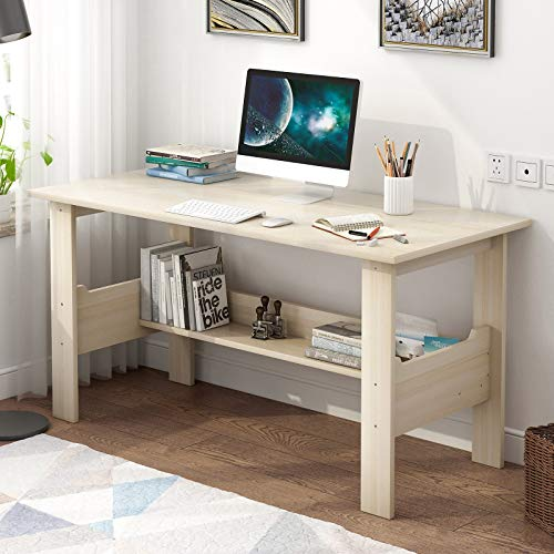 Computer Desk for Little Residence for Residence Arrangement of enterprise,Picket Uncomplicated PC Computer computer Notebook Survey Writing Table with Bookcase,Dinner Table,Gaming Desk for Bed room Living Room Dormitory (White)