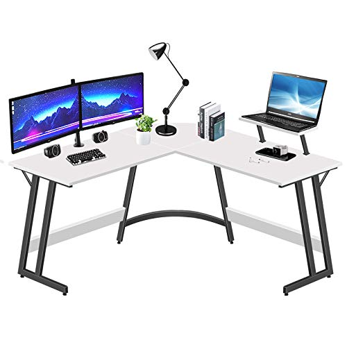 LUFEIYA L Fashioned Desk White Corner Laptop Desks for Small Design Home Space of job Pupil Survey Bed room Gaming PC Work,51 Rush Unusual L-Fashioned Writing Desk with Video show Stand