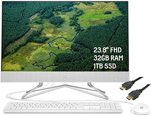 2020 Premium HP 24 All-in-One Desktop Pc 23.8″ FHD WLED Anti-Glare Show conceal AMD Athlon Silver 3050U Processor 32GB RAM 1TB SSD Pop-Up Webcam DVD-Writer HDMI WiFi Preserve shut 10 + iCarpHDMI