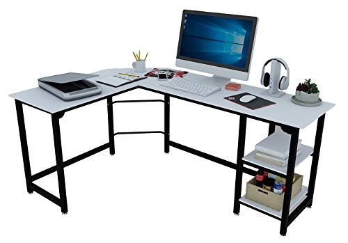 SZXKT L Fashioned Desk, Laptop Gaming Desk, Reversible White Desk with Cabinets Home-Saving Easy to Assemble Home Yelp of enterprise Desk (Oak White)