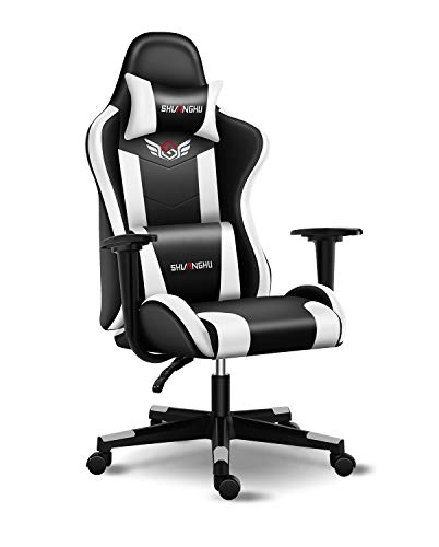 Shuanghu Gaming Chair Place of enterprise Chair Ergonomic PC Pc Chair with Reclining Racing Chair with Headrest and Lumbar Make stronger Gaming Chair for Adults Formative years Desk Chair (Unlit+ White)