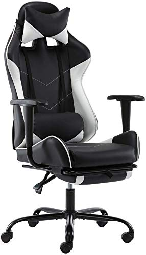 Gaming Chair PC Laptop Ergonomic Video Sport Chair ffice Chair Excessive Motivate Laptop Chair Leather-based Desk Chair Lumbar Reinforce with Footrest Fresh Job Rolling Swivel Racing Chair (White)