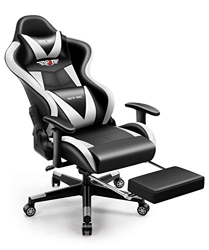 Gaming Chair,PatioMage Office Chair Racing Office Chair Desk Chair Headrest Lumbar Toughen Happy Laptop Sport Chair PU Leather-basically basically basically based Ergonomic Reclining PC Gaming Chairs (Unlit White)