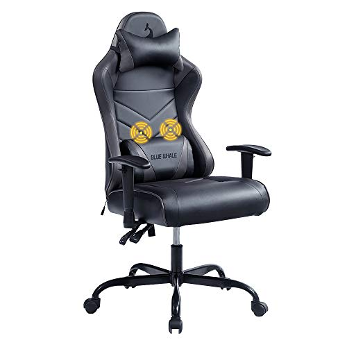 Blue whale Rubdown Gaming Chair Attach of job Desk Chair Ergonomic Excessive Aid Racing Computer Chair with Headrest and Lumbar Make stronger Backrest, Seat Peak Adjustable Swivel Chair