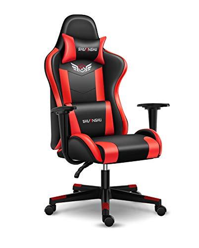 Shuanghu Gaming Chair Place of work Chair Ergonomic PC Computer Chair with Reclining Racing Chair with Headrest and Lumbar Make stronger Gaming Chair for Adults Young participants Desk Chair (Murky + Purple)