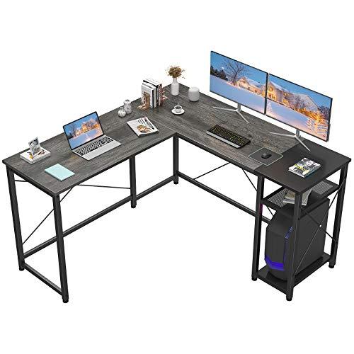 Homfio L Fashioned Desk Pc Divulge of job Desk with Shelves Corner Pc Desk Big Gaming Desk Industrial Easy Desk Workstation for Home Divulge of job Discover about Writing Desk,
