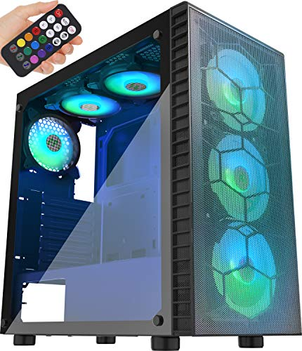 MUSETEX Mesh ATX Mid-Tower Computer Gaming Case with 6 PCS × 120mm LED ARGB Fans USB 3.0 Port Mesh Entrance Panel & Tempered Glass PC Chassis(G05MN6-HW)