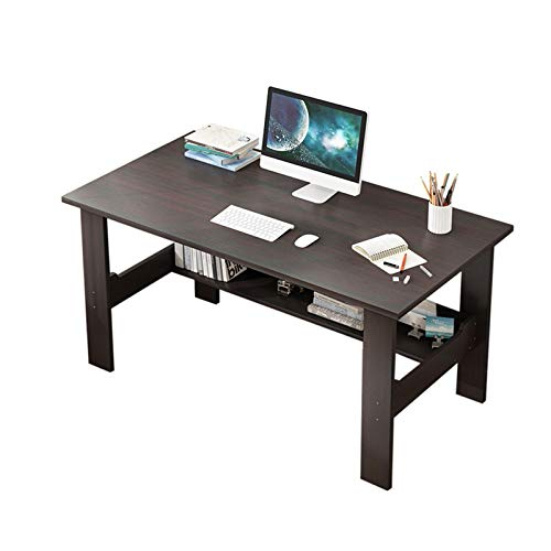 Residence Place of job Desk with Storage Shelf, Desktop Computer Gaming Desk, Wood View Table Workstation for Puny Set Residing Room and Bedroom, Swiftly Shipped from US (Brown)