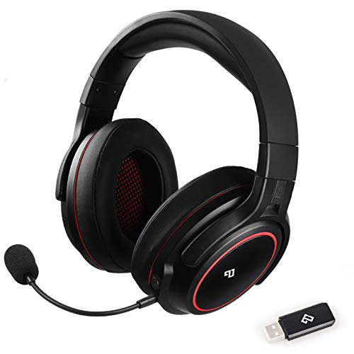 Infurture Wireless Gaming Headset 3D Bass Encompass Sound for PC/PS4/PS5,Pc Headset with Removable Noise Cancelling Microphone,Low-Latency Over-Ear Gaming Headphones