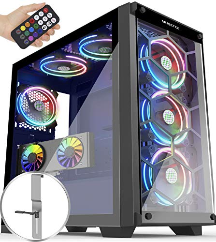 MUSETEX Phantom Shaded USB 3.0 Mid Tower Case with USB 3.0 and 6 ARGB Fans 2 Tempered Glass Panels Verbalize Distant Set watch over Gaming PC Case Computer Chassis(MU3-MS6 Recent)