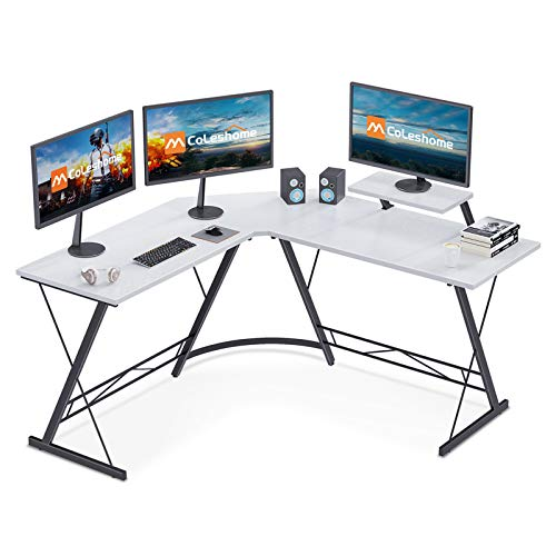 Coleshome L Shaped Desk, 51″ Dwelling Place of work Desk with Shelf, Gaming Laptop Desk with Computer screen Stand, PC Desk Workstation with Shelf, White