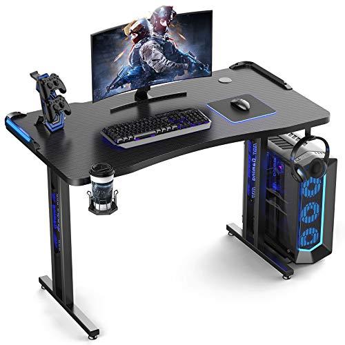 Homemaxs Gaming Computer Desk 47 amble – Ergonomic PC Gaming Desk with LED Lights Cup Holder Headphone Hook Controller Stand for H Form Carbon Fiber Gamer Desk – Dwelling Place of work Gaming Desk Desk Dim