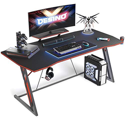 DESINO Gaming Desk 55 toddle PC Laptop Desk, Home Scrape of work Desk Gaming Desk Z Shaped Gamer Workstation with Cup Holder and Headphone Hook, Dark