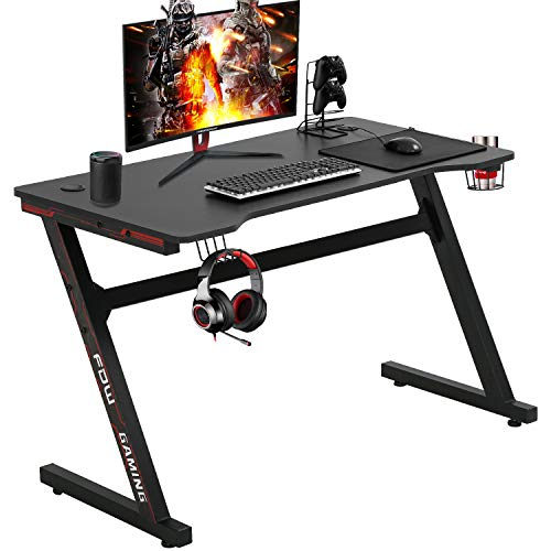 Gaming Desk Computer Desk Relate of business Desk Additional Sizable Aloof Ergonomic PC Carbon Fiber Writing Desk Table with Cup Holder Headphone Hook