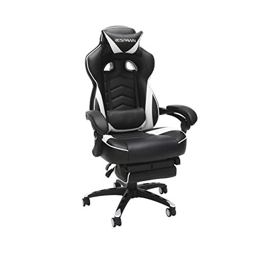 RESPAWN 110 Racing Style Gaming Chair, Reclining Ergonomic Chair with Footrest, in White (RSP-110-WHT)