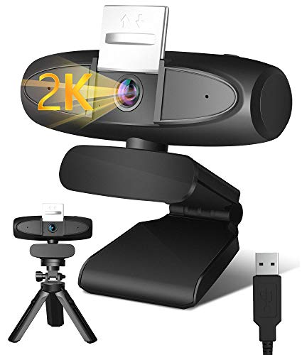 Webcam with Microphone, 2K Streaming USB Computer Camera with 4X Zoom Privateness Duvet Pan-Tilt Tripod & 110°Large Angel for PC Conferencing/Calling/Gaming, Computer/Desktop Mac, Skype/YouTube/Zoom/Facetime