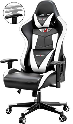 PatioMage Gaming Chair Racing Office Chair Ergonomic Peak Adjustment Swivel Assignment Chair Leather-based mostly completely mostly Reclining Excessive Support Computer Desk Chair with Retractable Fingers, Headrest and Lumbar Pillow