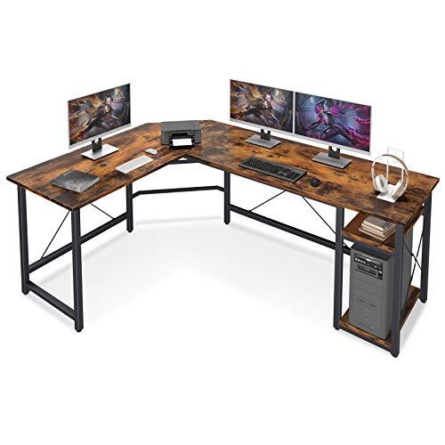 Coleshome L Shaped Pc Desk 66″ with Storage Shelves Gaming L Desk Workstation for Dwelling Space of industrial Wood & Metal, Vintage