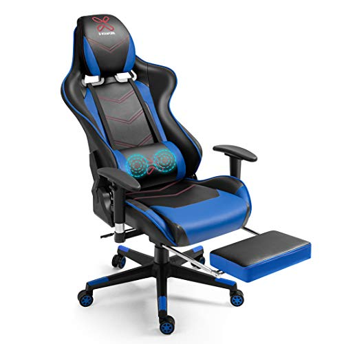 X-VOLSPORT Gaming Chair Office High Help Chair with Footrest, Racing Style PU Leather-basically based mostly Ergonomic Computer Video Sport Chair with Headrest and Lumbar Rub down(Blue/Shadowy)