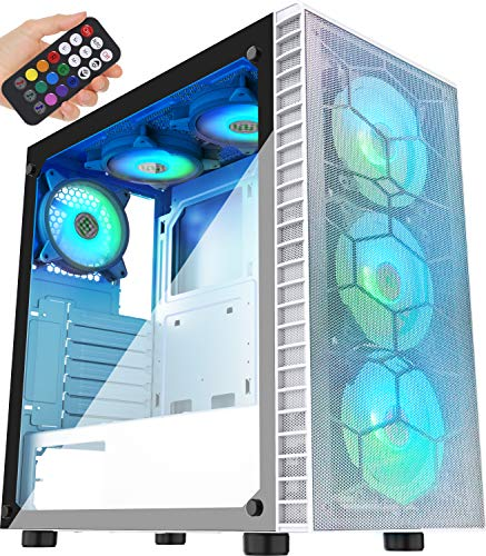 MUSETEX Mesh ATX Mid-Tower Computer Gaming Case with 6 PCS × 120mm LED ARGB Fans USB 3.0 Port Mesh Front Panel & Tempered Glass PC Chassis(G05MN6-BW)