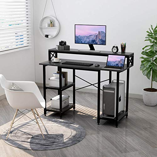 Laptop Desk with Shelves – Writing Gaze Desk with Be aware Stand Shelf/Bookshelves/CPU Stand,Contemporary Gaze Table Stable Metal Frame Pupil Desk for Diminutive Subject Home Space of job Workstation(Dusky)