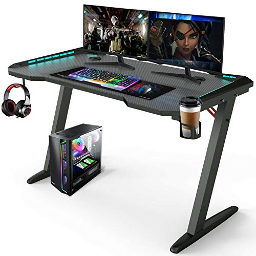 "Forty five"" Gaming Desk with Led Lights RGB Gaming Table House Office Gaming Laptop Desks Gamer Sport Workstation w/Cup Holder, Headphone Hook, 2 Cable Administration Holes,"