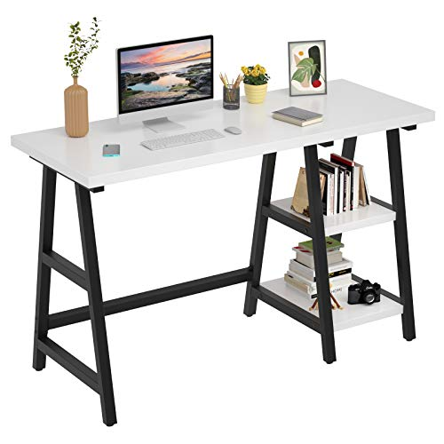 """Foxemart Pc Desk 47 Trudge Seek info from Writing Dwelling Position of business Trestle Desks with Storage Cupboards, 2-Tier 47"""" Novel Sturdy PC Pc pc Gaming Desk,"""