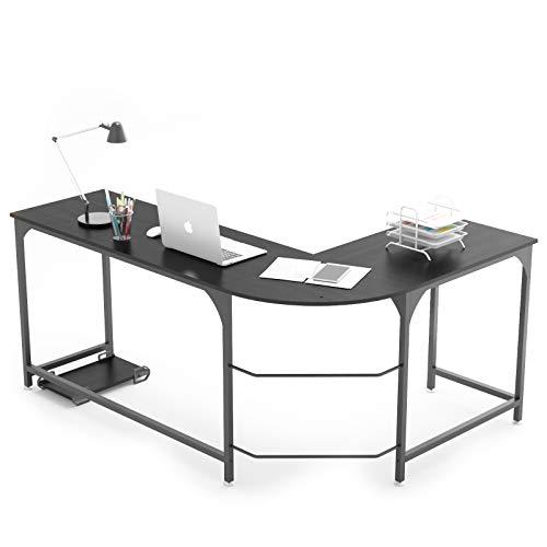 Weehom Reversible L Fashioned Desk Nook Gaming Computer Desks for Dwelling Office PC Workstation Table,Dark