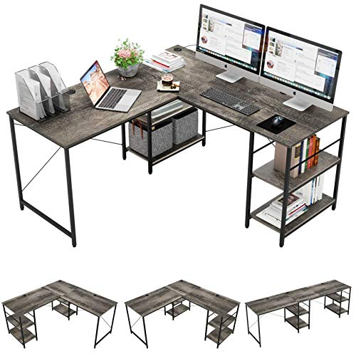 ANYH L-Shaped Nook Desk with Storage Cabinets, 2 Person Desk New Industrial Computer Desk, Noteworthy L Desk for Home Space of business Pupil Writing Gaming Workstation-Grey