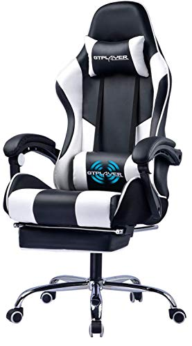 Gtplayer Gaming Chair with Footrest Ergonomic Therapeutic massage Space of commercial Chair Adjustable Swivel Leather-primarily primarily based High Lend a hand Pc Desk Chair with Headrest and Massager Lumbar Toughen White