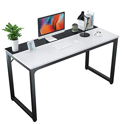 """Foxemart 55"""" Computer Desks Contemporary Residing of job Table, Sturdy 55 Poke PC Pc Writing Gaming Gawk Desk for Dwelling Residing of job Workstation, White and Dusky"""