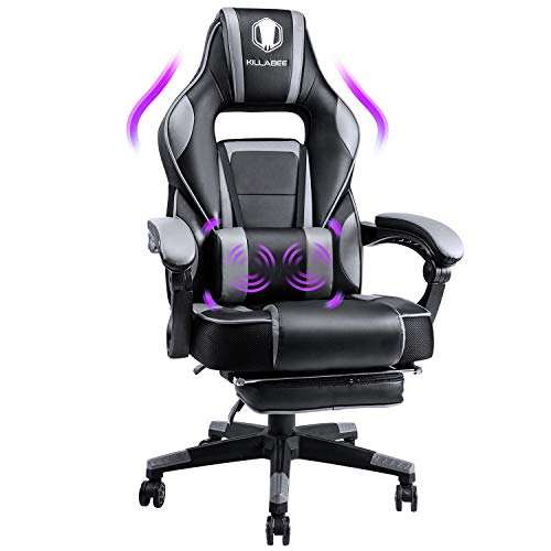 KILLABEE Rubdown Gaming Chair Racing Laptop Desk Web site of job Chair Excessive-Again Swivel Recliner Chair with Retractable Footrest and Adjustable Lumbar Motivate, Gray