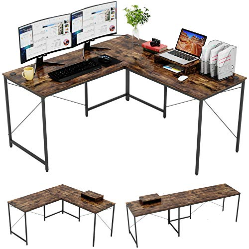 Bestier L-Fashioned Computer Desk, 95.2″ Two Particular person Clear Gaming Narrate of job Desk with Scheme RGB Mouse Pad,L-Fashioned or Long Desk Two Capability with Free Tune Stand,