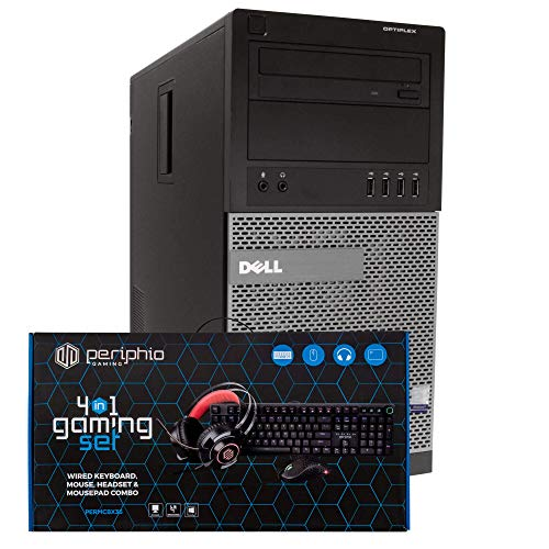 Dell Gaming PC Desktop Computer Tower, Intel i5, 16GB RAM, 128GB SSD + 500GB HDD, Windows 10, Nvidia GT1030, New Periphio RGB Gaming Keyboard, Mouse, Headset & XL Mousepad Combo,